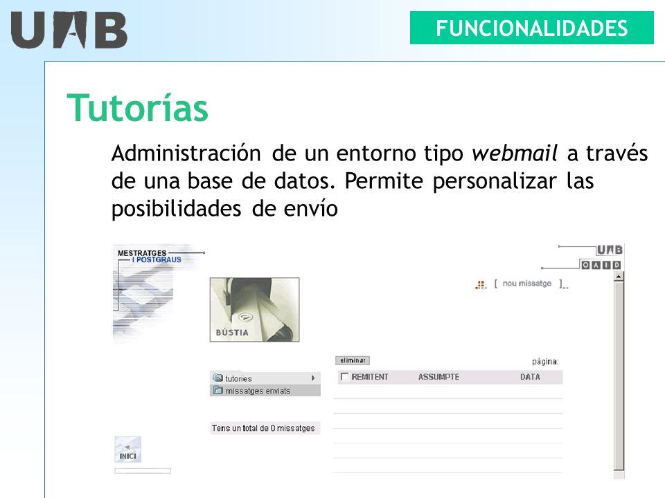 Tutorías Administración de un entorno tipo webmail a través