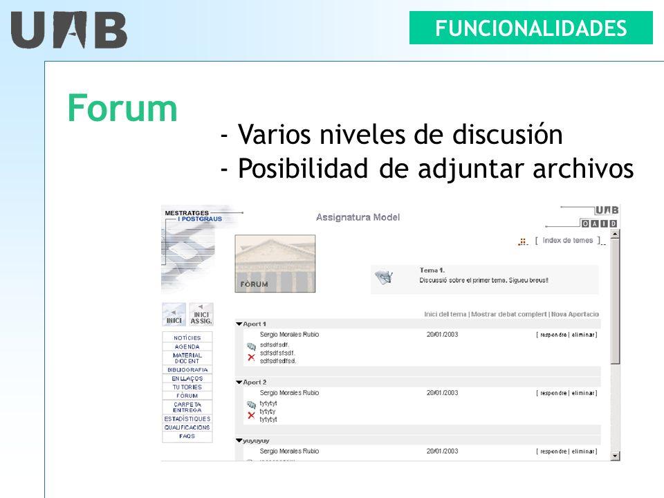 Forum - Varios niveles de discusión - Posibilidad de adjuntar archivos