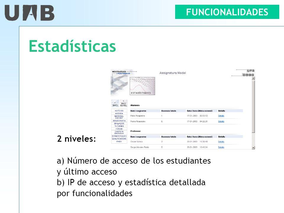 Estadísticas FUNCIONALIDADES 2 niveles:
