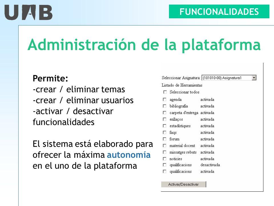 Administración de la plataforma