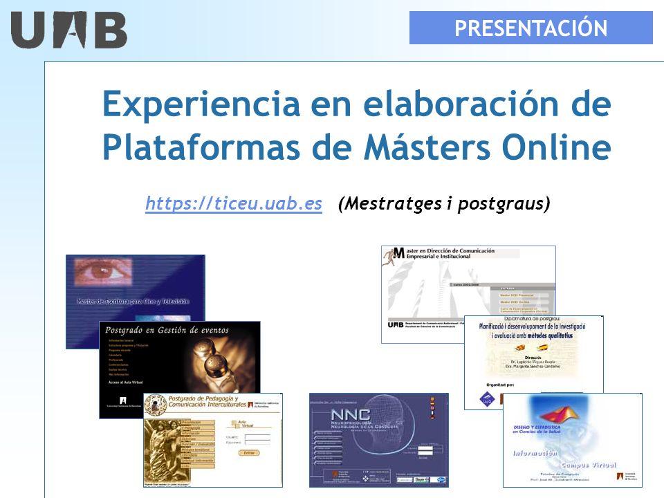 Experiencia en elaboración de Plataformas de Másters Online