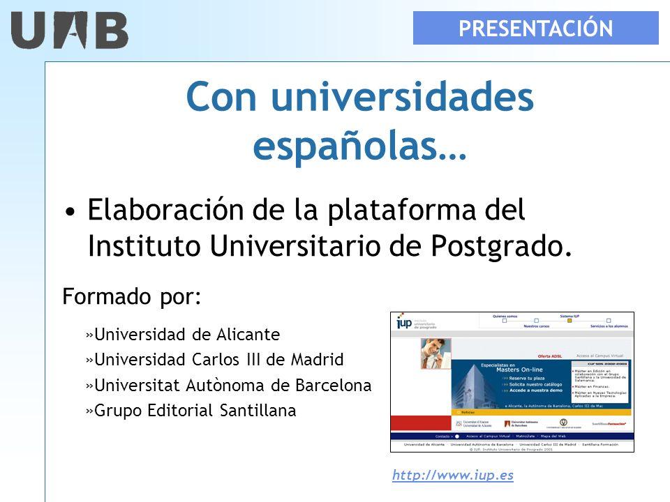 Con universidades españolas…