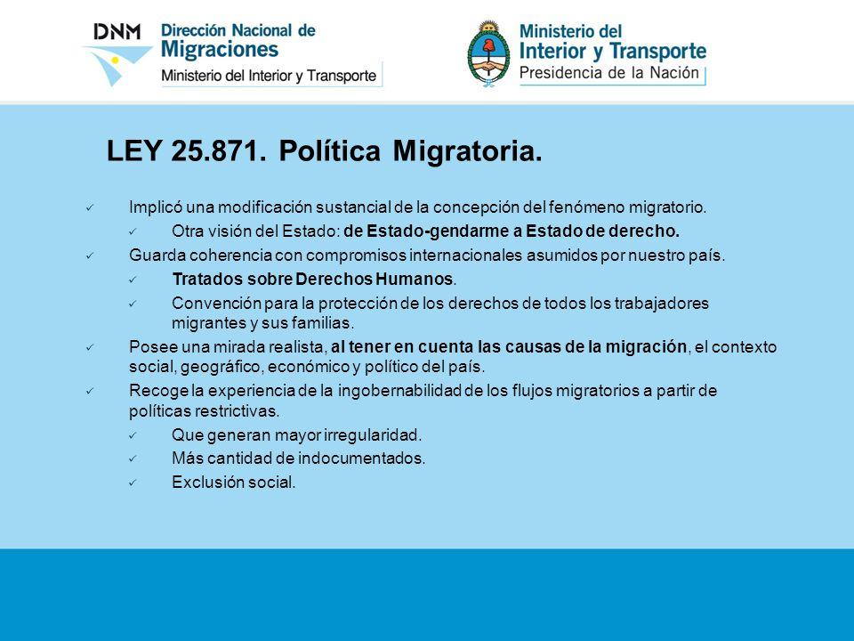 LEY 25.871. Política Migratoria.