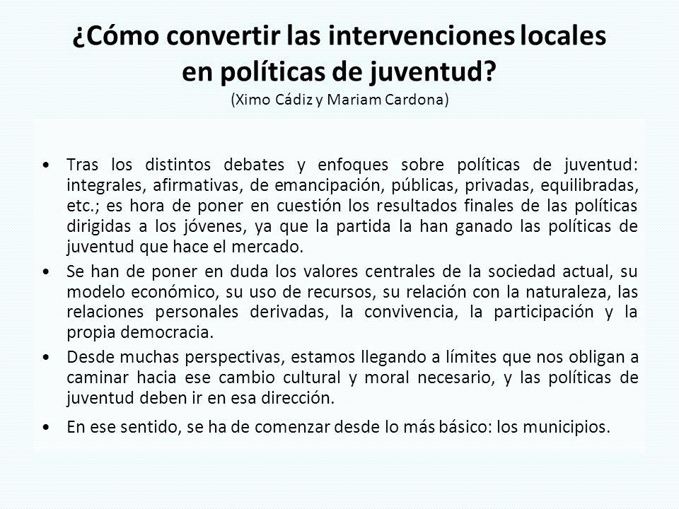 ¿Cómo convertir las intervenciones locales en políticas de juventud