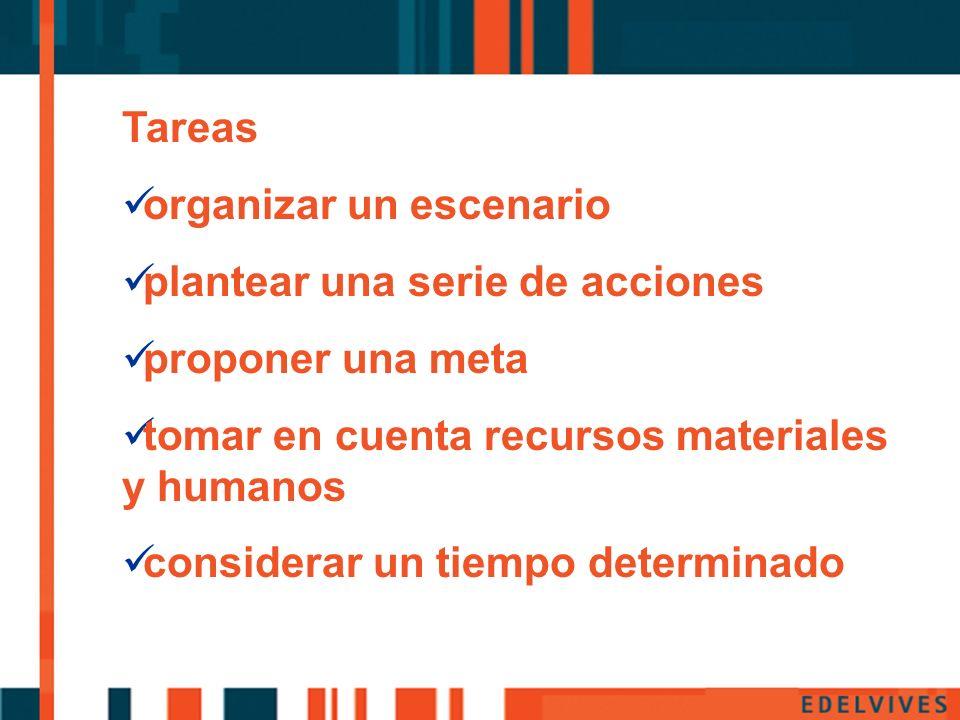 Pp Tareas organizar un escenario plantear una serie de acciones