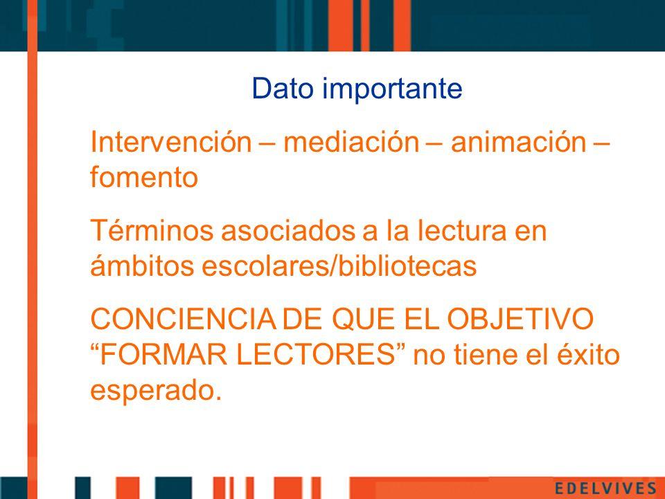 Dato importante Intervención – mediación – animación – fomento. Términos asociados a la lectura en ámbitos escolares/bibliotecas.