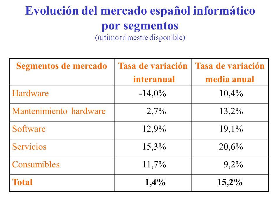 Evolución del mercado español informático por segmentos (último trimestre disponible)