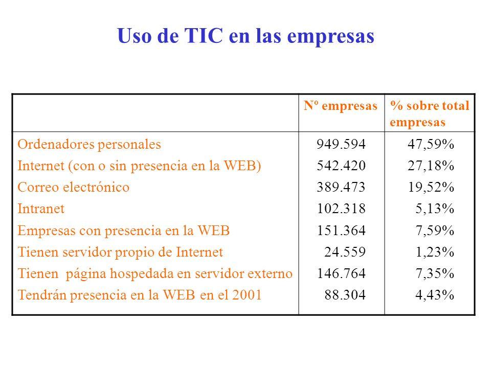 Uso de TIC en las empresas
