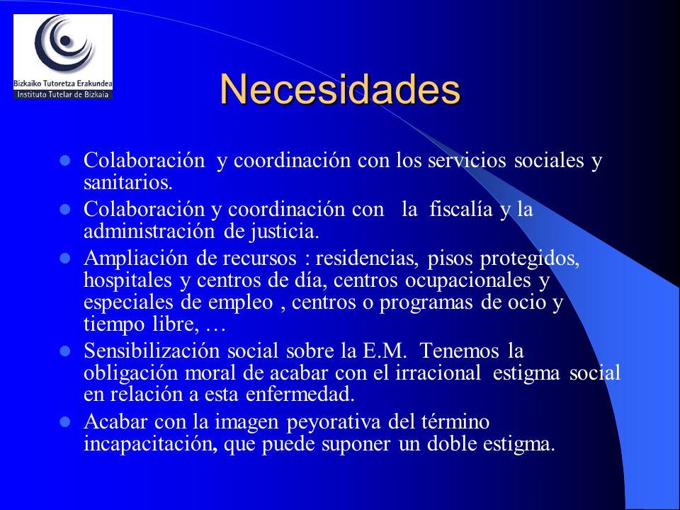 Necesidades Colaboración y coordinación con los servicios sociales y sanitarios.