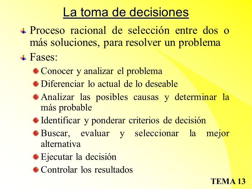 La toma de decisiones Proceso racional de selección entre dos o más soluciones, para resolver un problema.