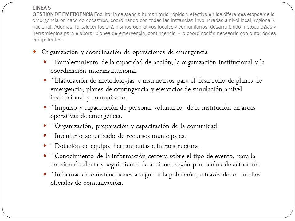 Organización y coordinación de operaciones de emergencia