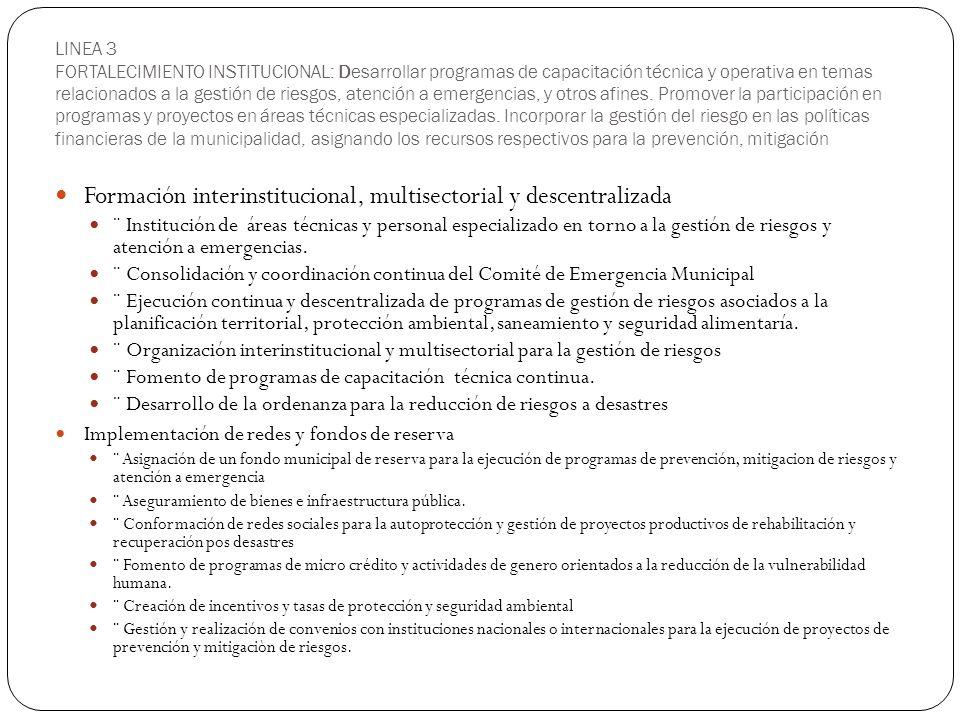Formación interinstitucional, multisectorial y descentralizada