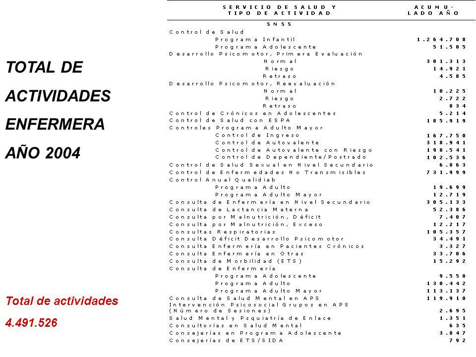 TOTAL DE ACTIVIDADES ENFERMERA AÑO 2004 Total de actividades 4.491.526