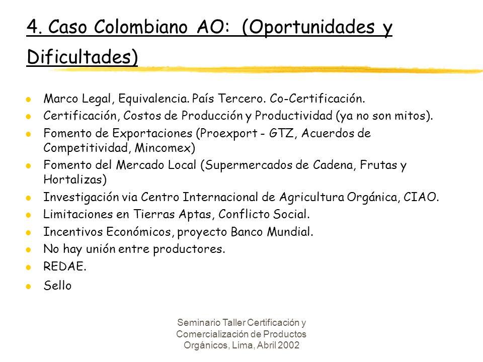 4. Caso Colombiano AO: (Oportunidades y Dificultades)
