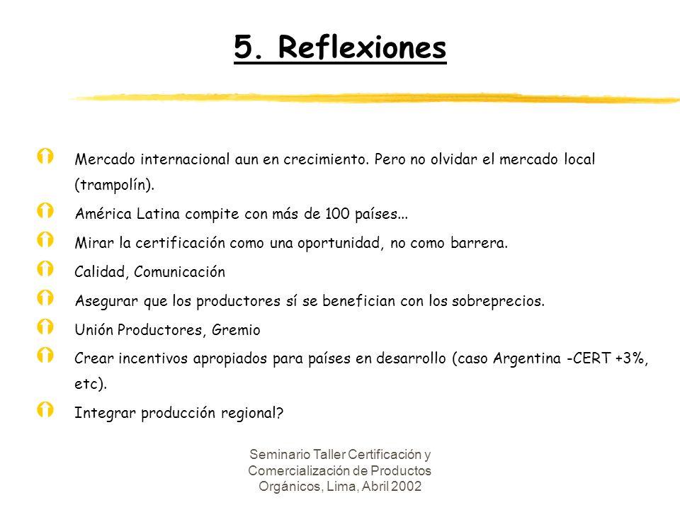 5. Reflexiones Mercado internacional aun en crecimiento. Pero no olvidar el mercado local (trampolín).