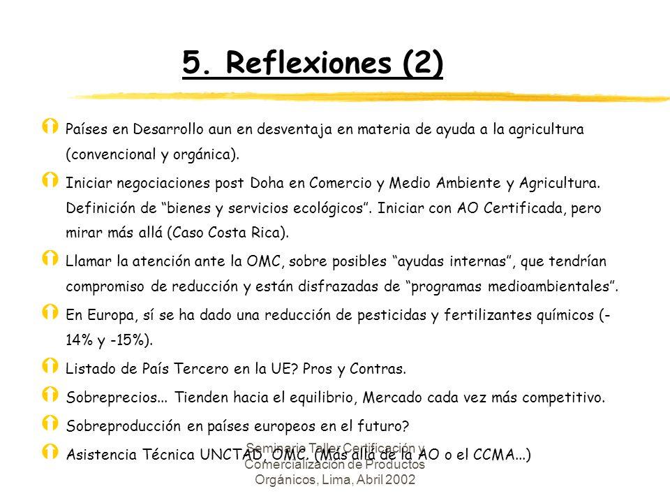 5. Reflexiones (2) Países en Desarrollo aun en desventaja en materia de ayuda a la agricultura (convencional y orgánica).