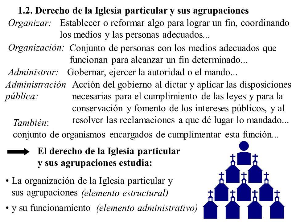 1.2. Derecho de la Iglesia particular y sus agrupaciones