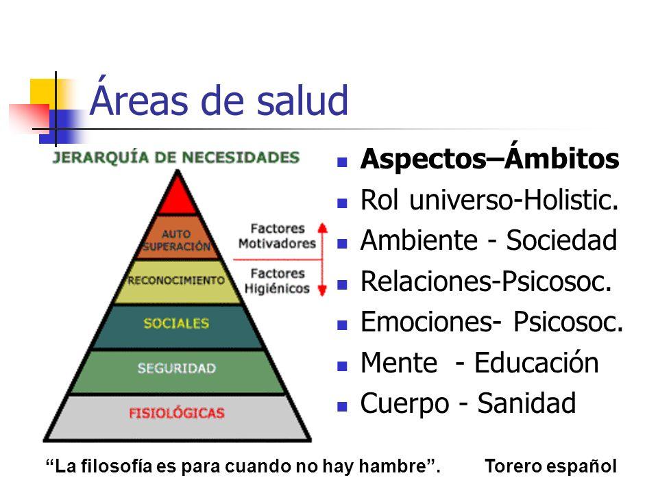 Áreas de salud Aspectos–Ámbitos Rol universo-Holistic.