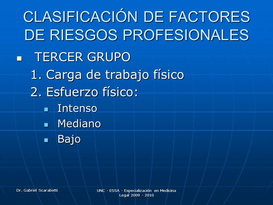 CLASIFICACIÓN DE FACTORES DE RIESGOS PROFESIONALES
