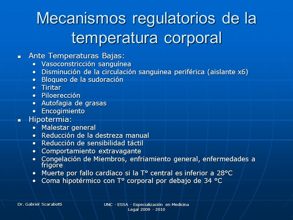 Mecanismos regulatorios de la temperatura corporal