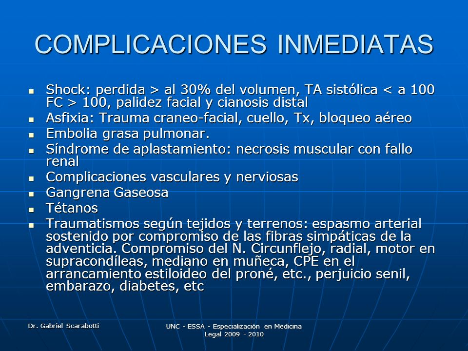 COMPLICACIONES INMEDIATAS