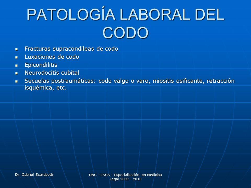 PATOLOGÍA LABORAL DEL CODO