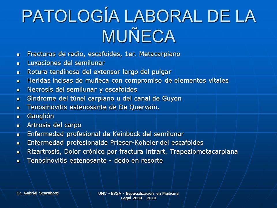 PATOLOGÍA LABORAL DE LA MUÑECA