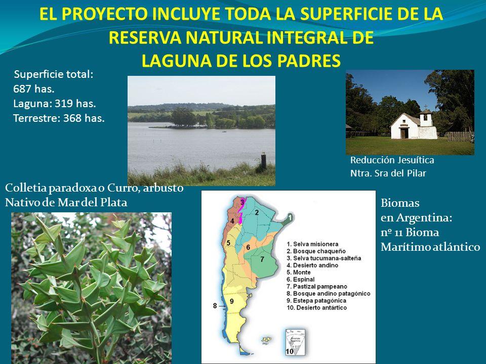EL PROYECTO INCLUYE TODA LA SUPERFICIE DE LA RESERVA NATURAL INTEGRAL DE LAGUNA DE LOS PADRES