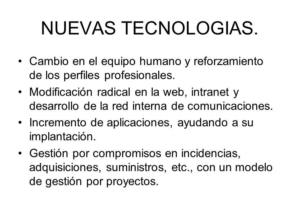 NUEVAS TECNOLOGIAS. Cambio en el equipo humano y reforzamiento de los perfiles profesionales.