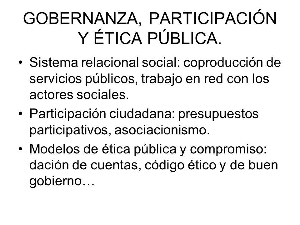 GOBERNANZA, PARTICIPACIÓN Y ÉTICA PÚBLICA.