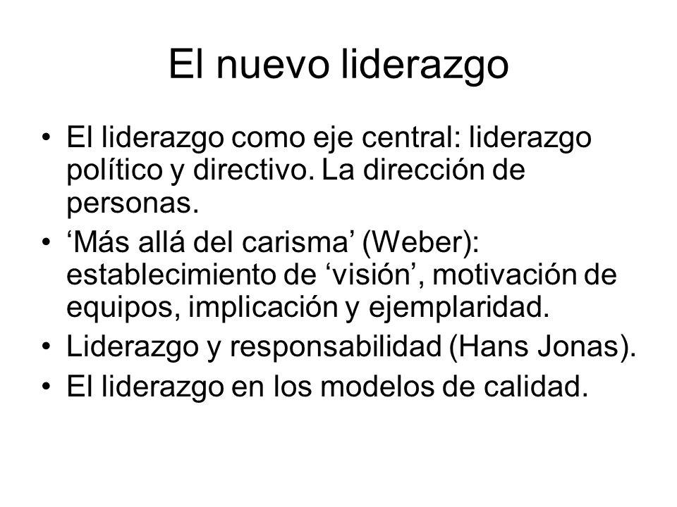 El nuevo liderazgo El liderazgo como eje central: liderazgo político y directivo. La dirección de personas.