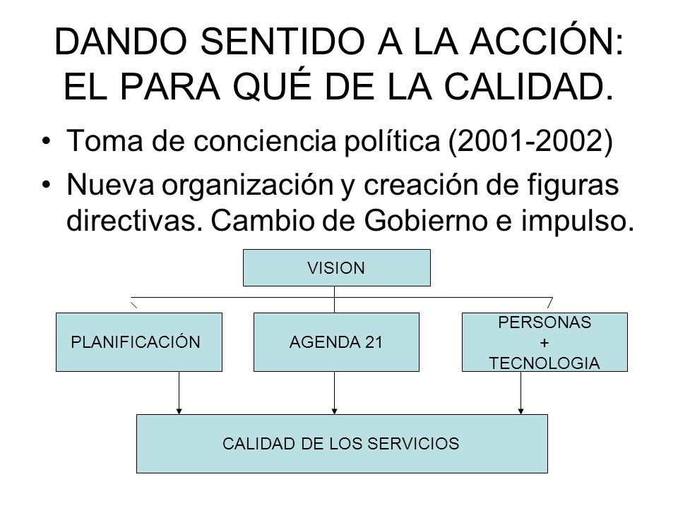 DANDO SENTIDO A LA ACCIÓN: EL PARA QUÉ DE LA CALIDAD.