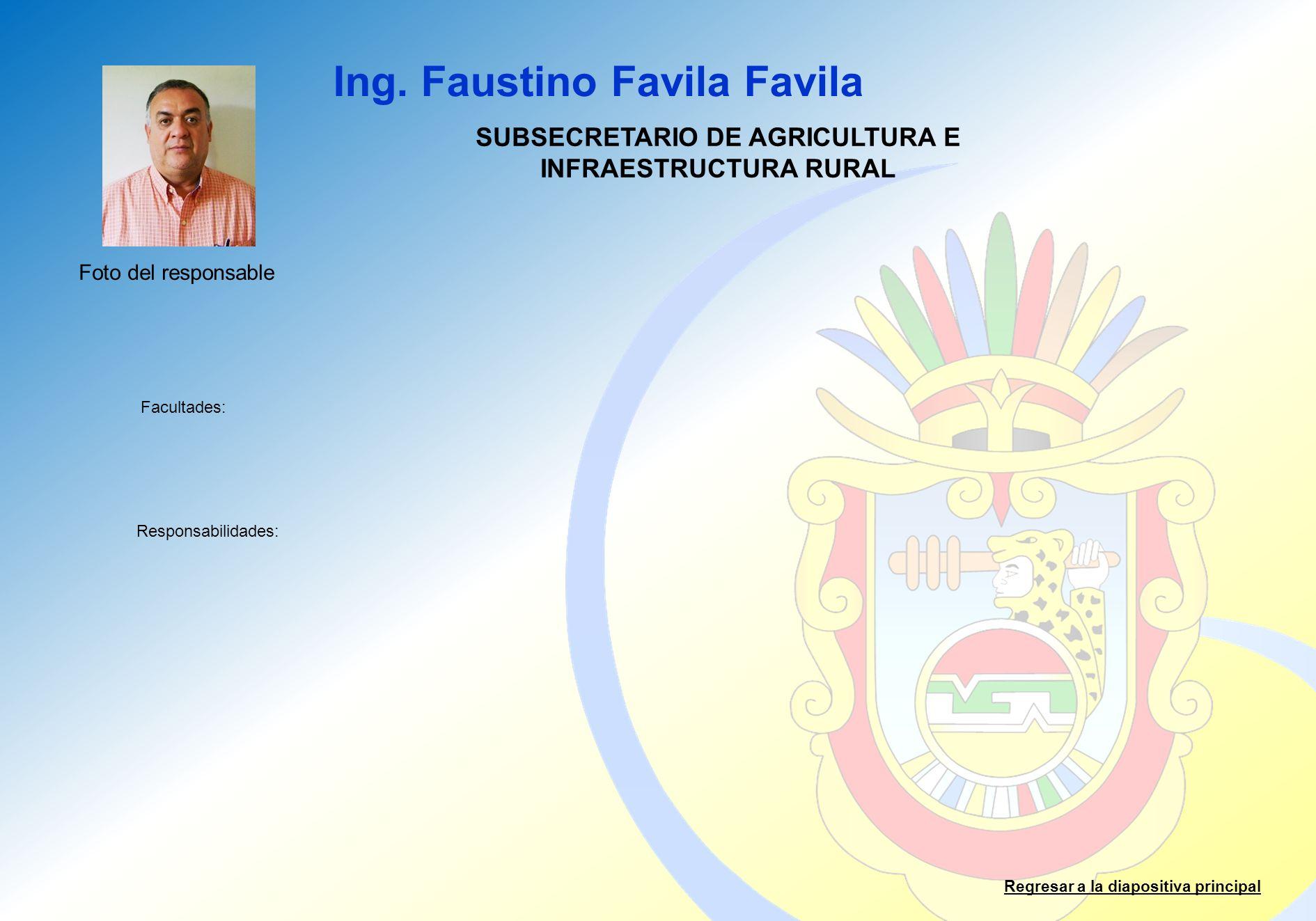 SUBSECRETARIO DE AGRICULTURA E INFRAESTRUCTURA RURAL