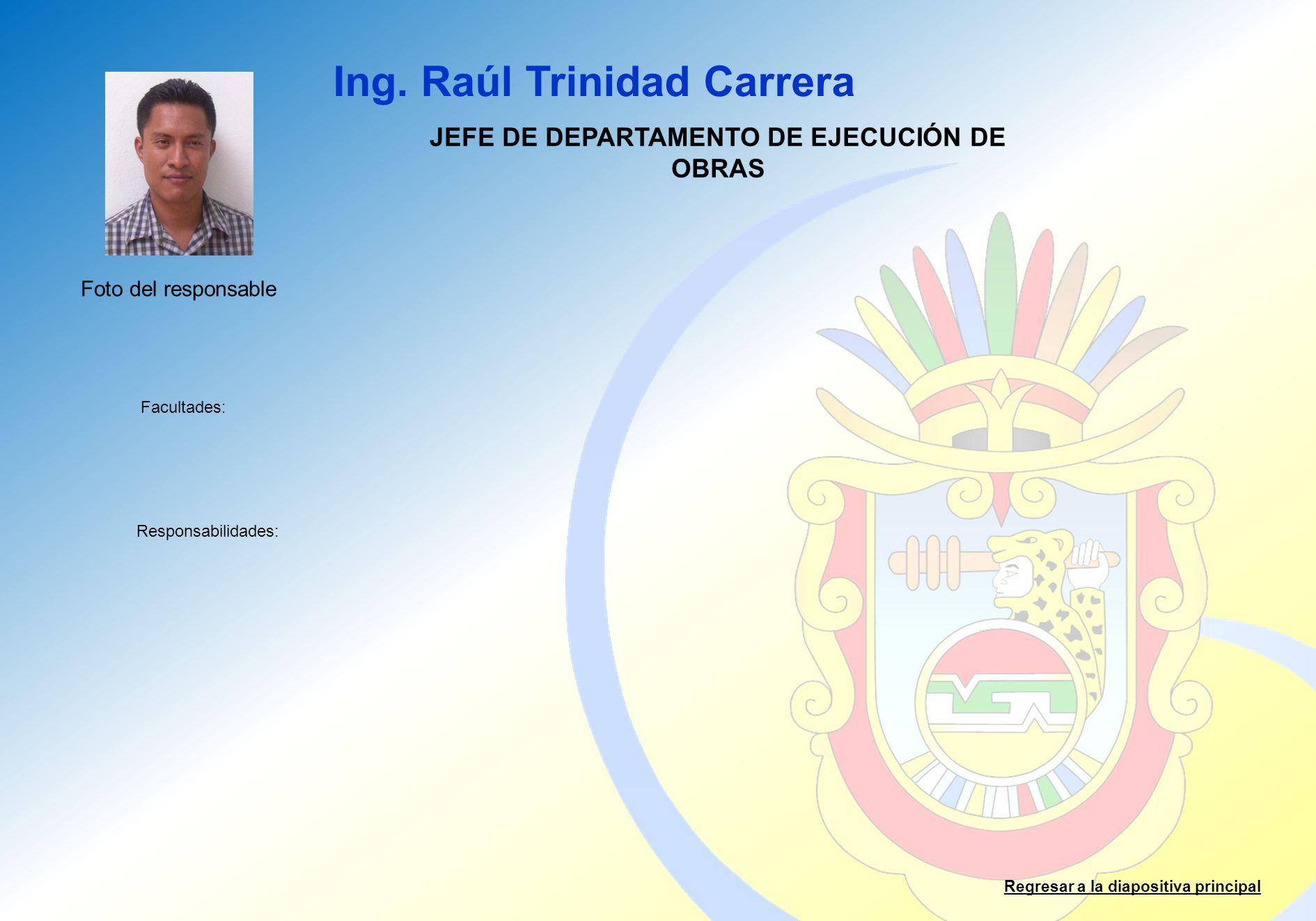 JEFE DE DEPARTAMENTO DE EJECUCIÓN DE OBRAS