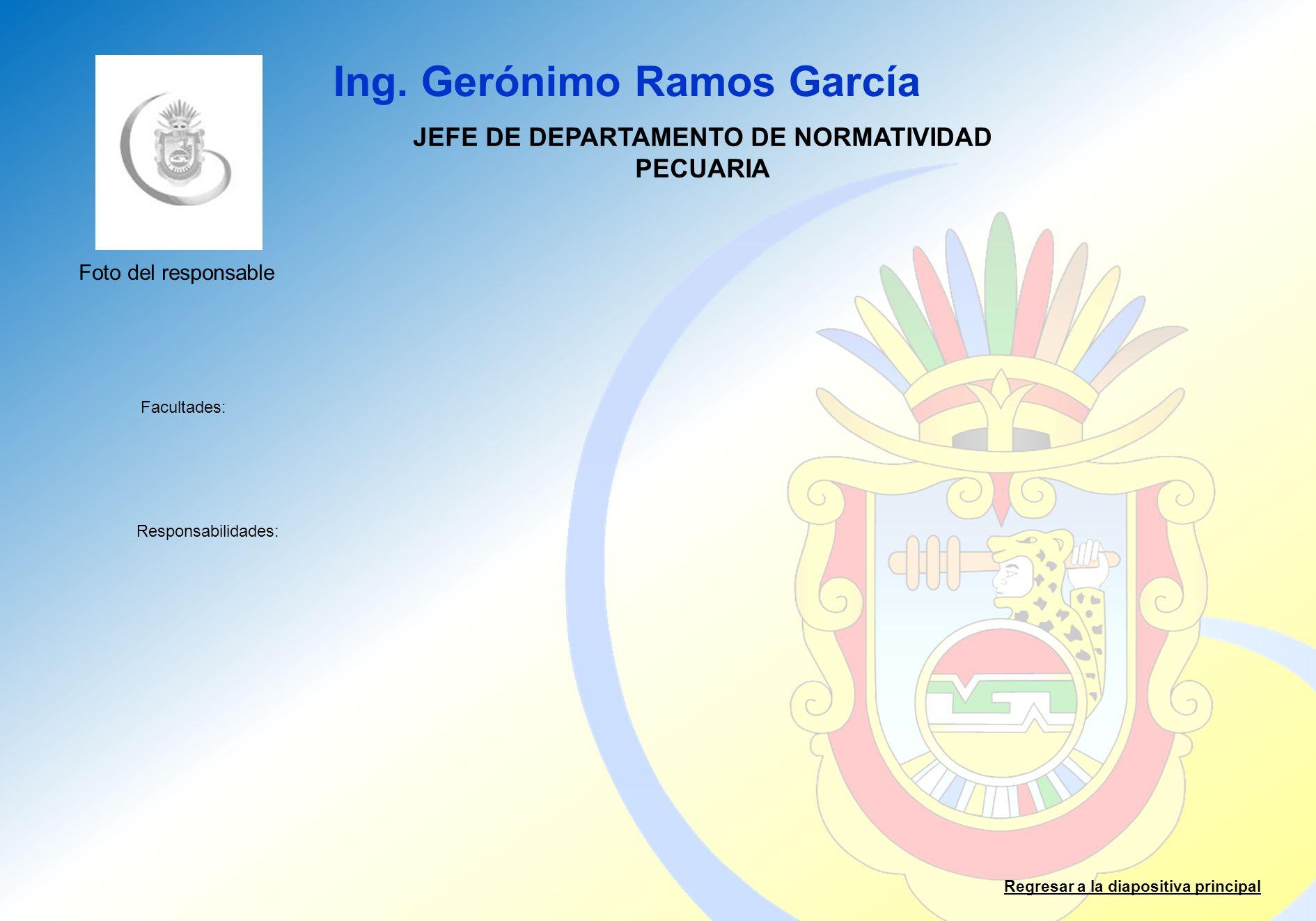 JEFE DE DEPARTAMENTO DE NORMATIVIDAD PECUARIA