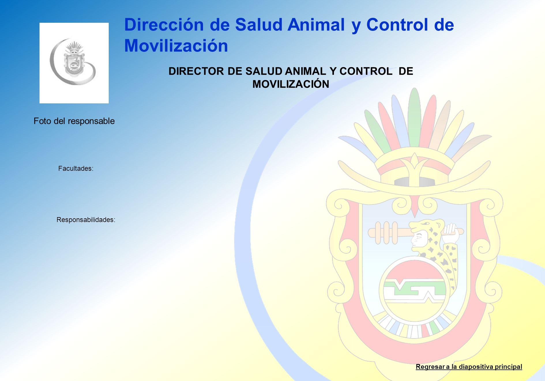 DIRECTOR DE SALUD ANIMAL Y CONTROL DE MOVILIZACIÓN