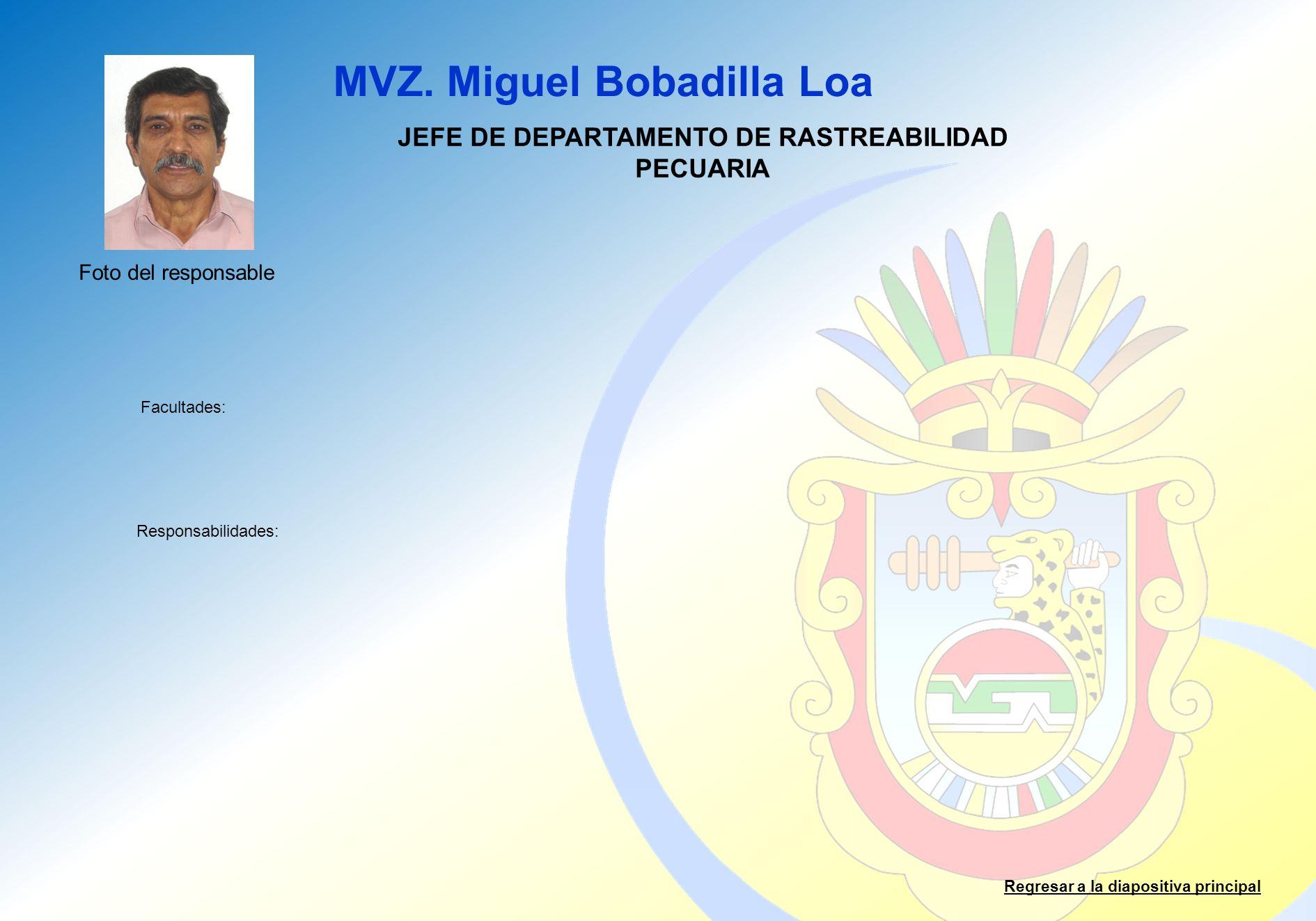 JEFE DE DEPARTAMENTO DE RASTREABILIDAD PECUARIA
