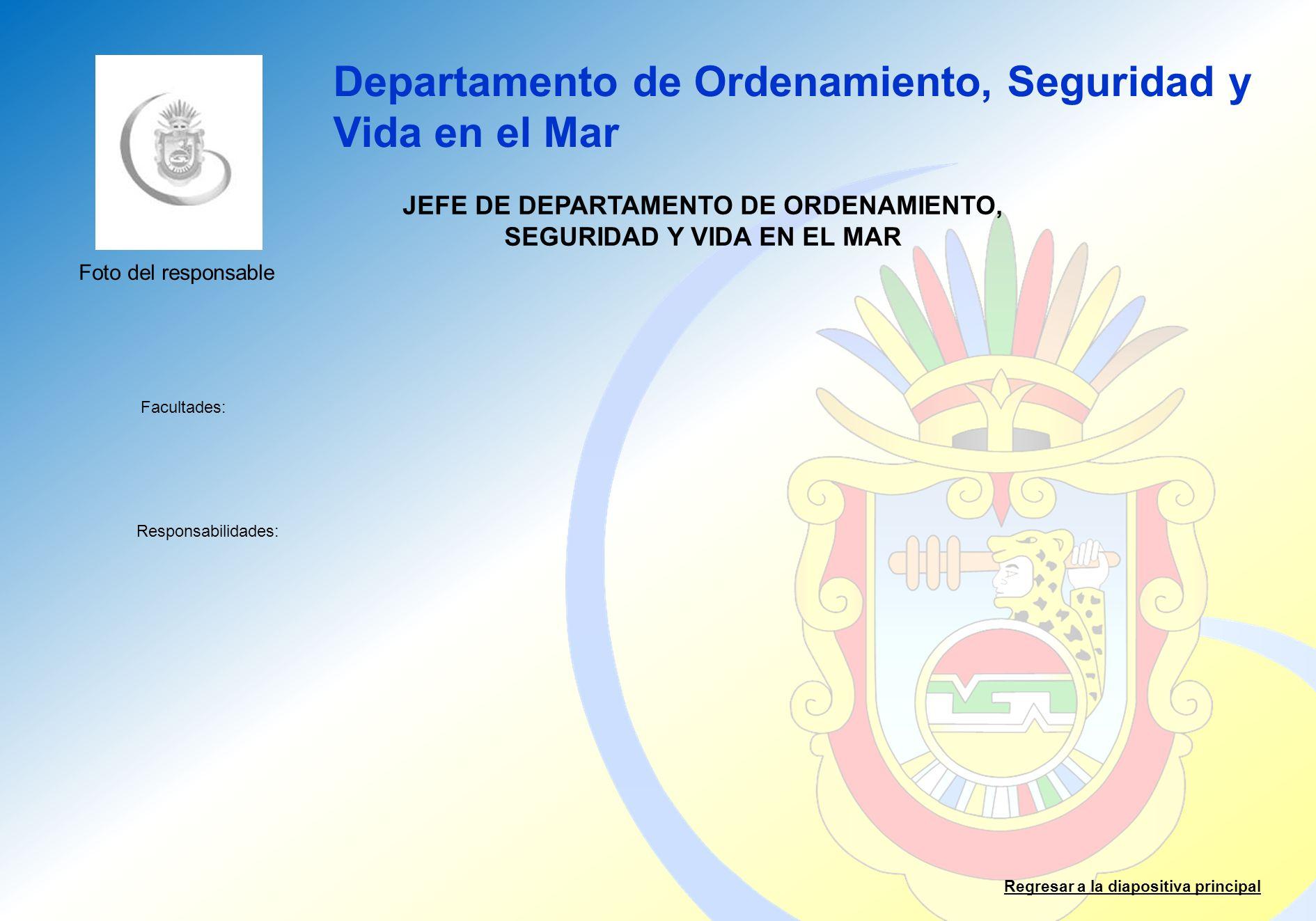 JEFE DE DEPARTAMENTO DE ORDENAMIENTO, SEGURIDAD Y VIDA EN EL MAR