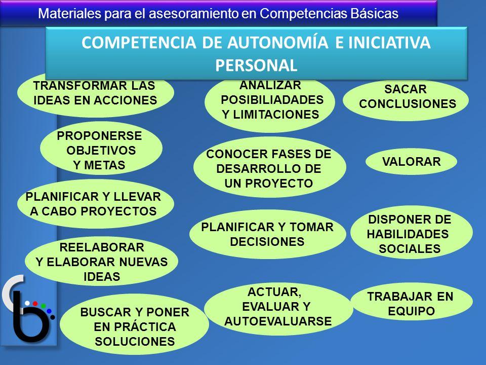COMPETENCIA DE AUTONOMÍA E INICIATIVA PERSONAL
