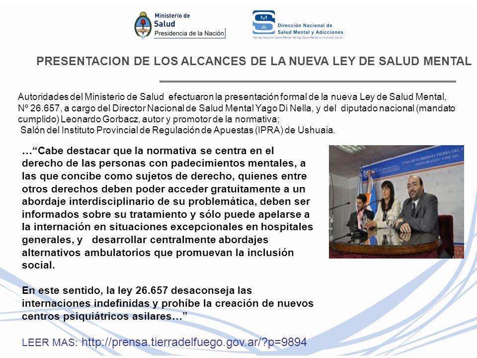 PRESENTACION DE LOS ALCANCES DE LA NUEVA LEY DE SALUD MENTAL