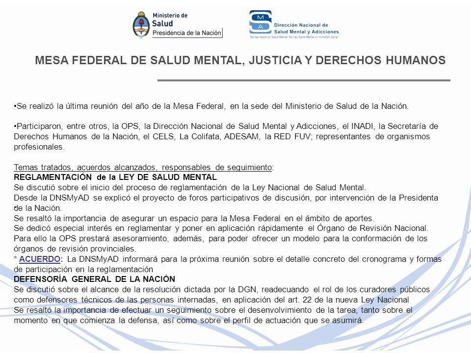 MESA FEDERAL DE SALUD MENTAL, JUSTICIA Y DERECHOS HUMANOS