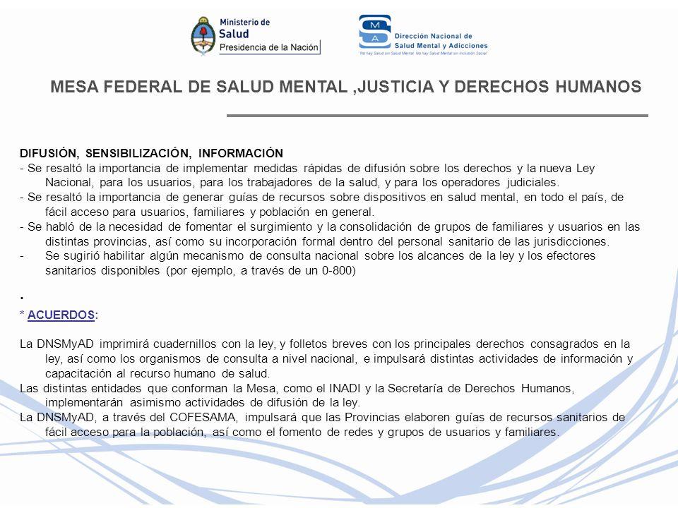 MESA FEDERAL DE SALUD MENTAL ,JUSTICIA Y DERECHOS HUMANOS