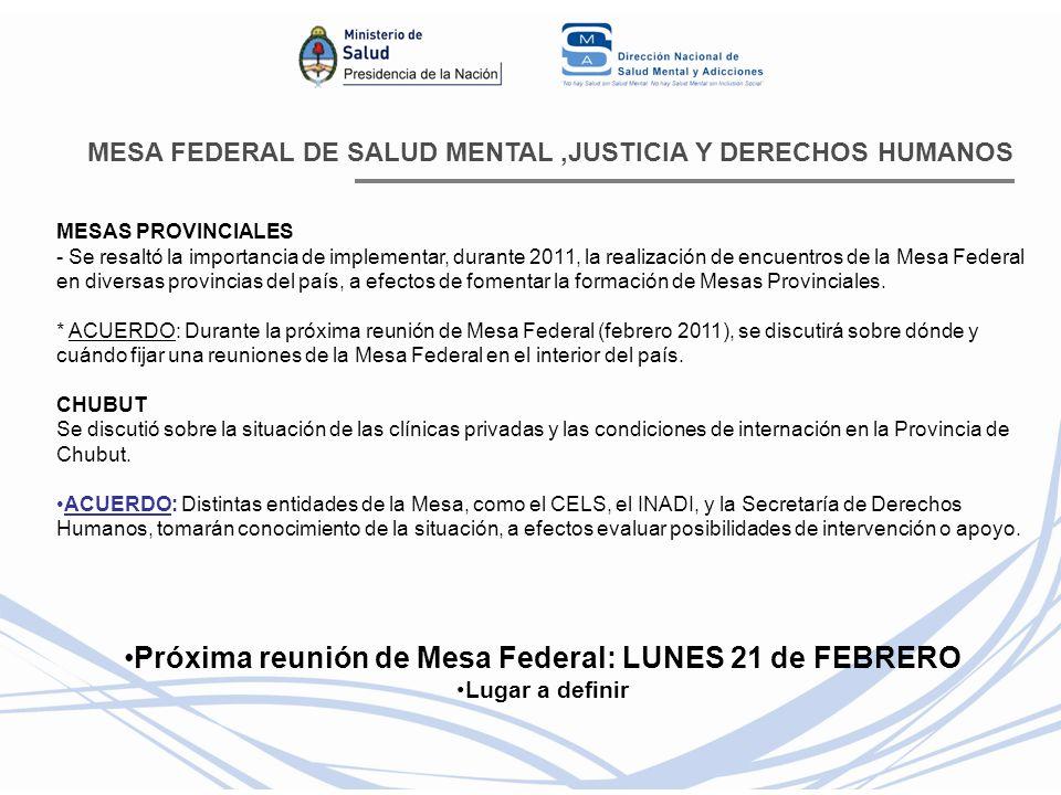 Próxima reunión de Mesa Federal: LUNES 21 de FEBRERO