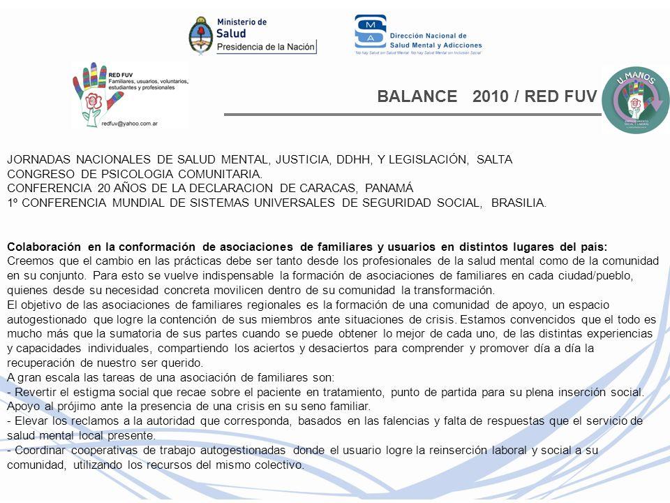 BALANCE 2010 / RED FUV JORNADAS NACIONALES DE SALUD MENTAL, JUSTICIA, DDHH, Y LEGISLACIÓN, SALTA.