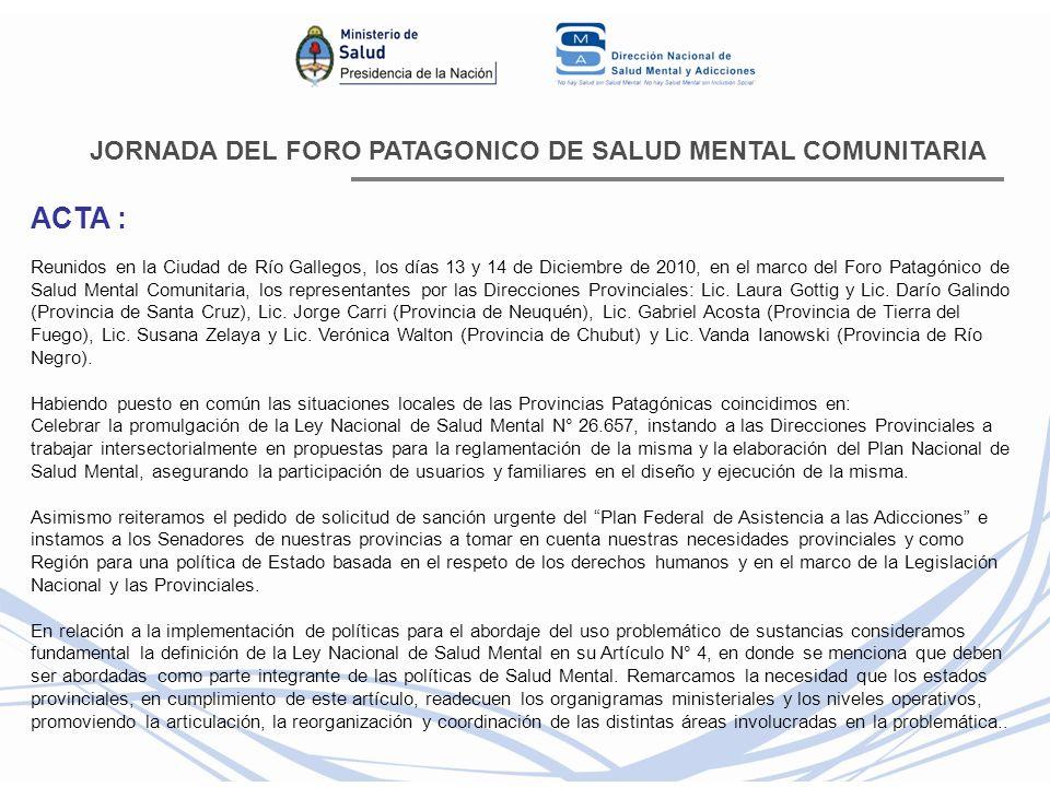 JORNADA DEL FORO PATAGONICO DE SALUD MENTAL COMUNITARIA