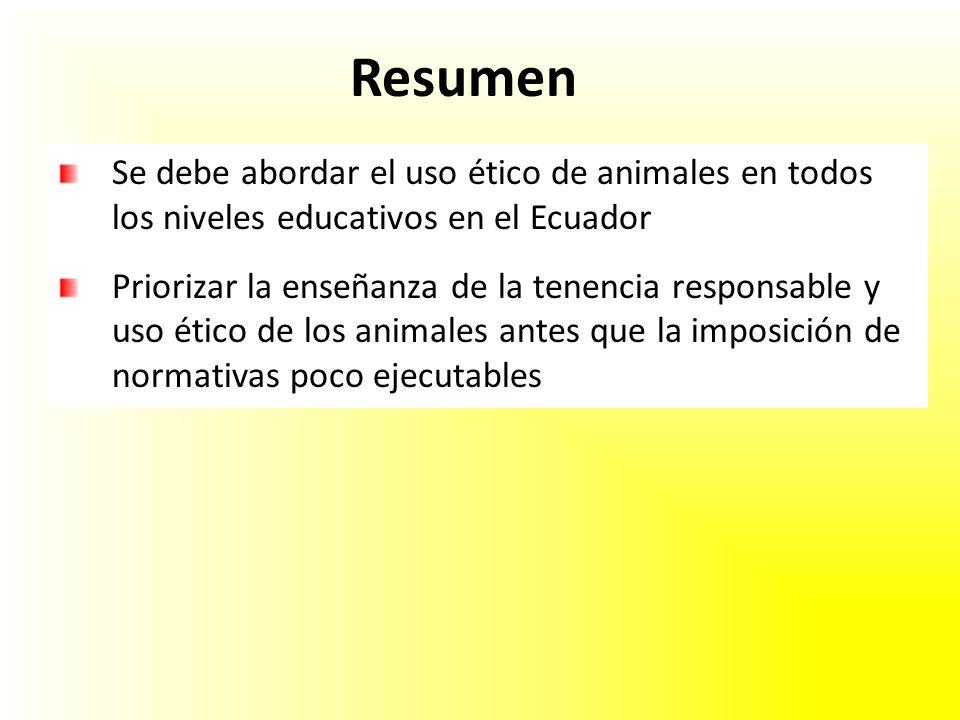 Resumen Se debe abordar el uso ético de animales en todos los niveles educativos en el Ecuador.