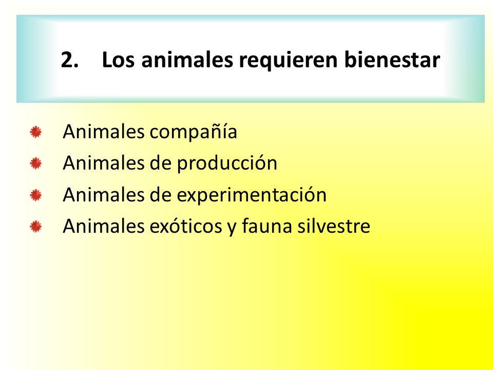 2. Los animales requieren bienestar