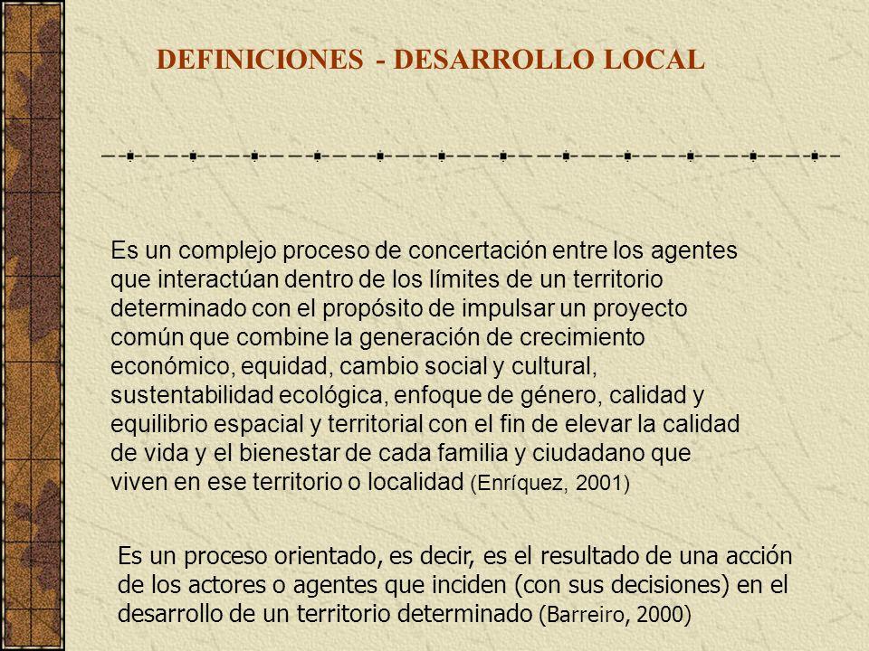 DEFINICIONES - DESARROLLO LOCAL