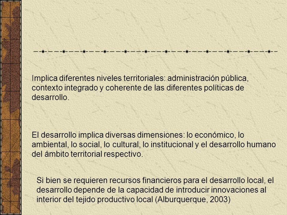 Implica diferentes niveles territoriales: administración pública, contexto integrado y coherente de las diferentes políticas de desarrollo.