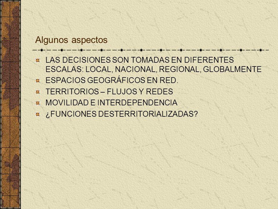 Algunos aspectos LAS DECISIONES SON TOMADAS EN DIFERENTES ESCALAS: LOCAL, NACIONAL, REGIONAL, GLOBALMENTE.